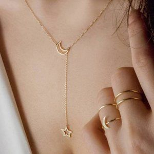 Moon Star Lariat Necklace (Gold)